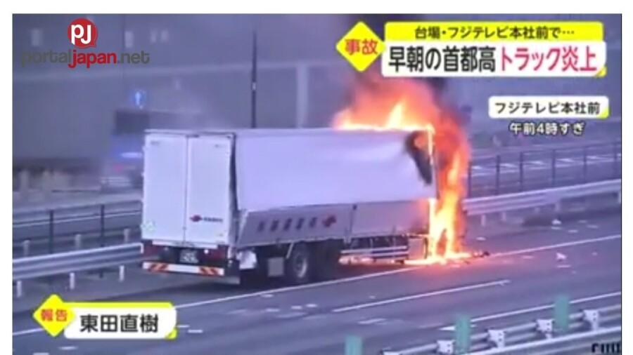 &nbspIsang truck ang nasunog sa isang expressway sa tapat ng Fuji Television headquarters